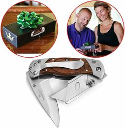Vermont 2 in 1 Folding Utility Knife Box Cutter Wooden Handl