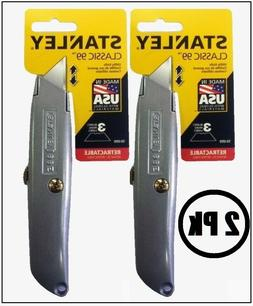 2 Pk Stanley Classic 99 Retractable Utility Knife Cutter Bla