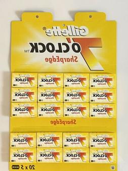 100 Gillette 7 O'Clock Yellow Sharp Edge Double Edge Safety