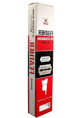 100 Ct Feather Hi-stainless Double Edge De Razor Blades New
