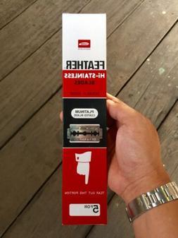 100 FEATHER Hi-Stainless Platinum Double Edge Razor Blades 5