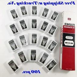 100 Feather High-Stainless Platinum Double Edge Razor Blades