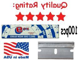 100 USA Single Edge Razor Blades Box Cutter Scraper Tool Sha