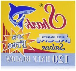 120 Shark Super Stainless Straight Edge Barber Razor Blades