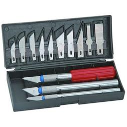 16pc Hobby Razor Knife Set w/Blades w/Case  Stencil