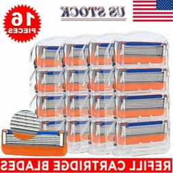 16Pcs 4Pack 5-Layer Mens Shaving Blades For Gillette Fusion