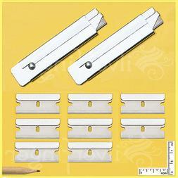 2 BOX CUTTERS + 8 REFILL SINGLE EDGE RAZOR BLADES CARTON UTI