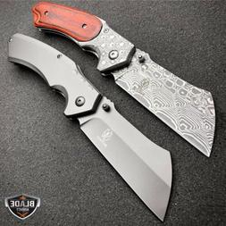 2 PC TACTICAL Spring Assisted Pocket Knife CLEAVER RAZOR Bla