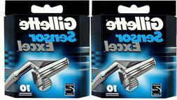 2 Gillette Sensor Excel Razor Blades - 20 Cartridges