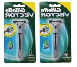 2 GILLETTE Vector Razor BLADES Cartridges Fits -Same as Atra