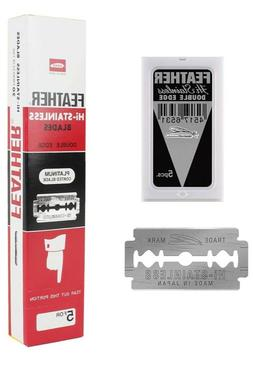 200 Feather Razor Blades NEW HI-STAINLESS Double Edge Platin