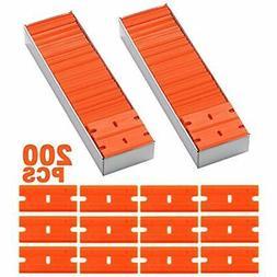 200Pcs 1.5&quot Plastic Razor Blades Safety Titan Scraper, D