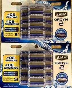 2Pckgs Schick Hydro 5 Blade Razor Refill, 12 Cartridges Ea/2