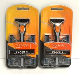 daylogic 3 Blade Disposable System for Men,Lot of 2,Total 2
