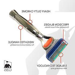 GBS Men's Heavy Duty Handle Chrome Shaving Razor - 5 Blade t