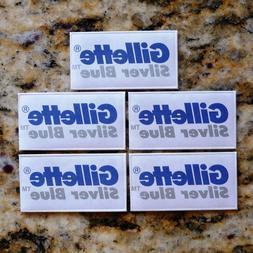 5 Gillette Silver Blue Double Edge Razor Blades