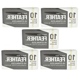 50 Feather FHS-10 Hi-Stainless Single Edge Razor Blades 5 x