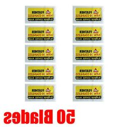 50 Feather Razor Blades Yellow Pack HI-STAINLESS Double Edge