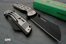 """7.75"""" Black Spring Assisted Open Pocket Knife CLEAVER RAZOR"""