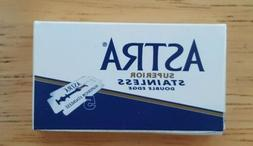 8 Astra Blue Superior Stainless Steel DE Blades Double Edge