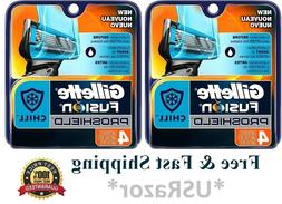8 Gillette Fusion Proshield Chill Razor Blades Refills Cartr