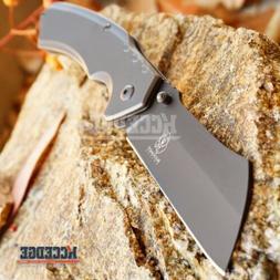 "8"" TITANIUM GREY Cleaver Razor Blade Spring Assisted Pocket"