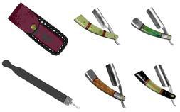 "9.5"" Razor Blade Buffalo Horn Handle w/ Leather Sheath & Lea"