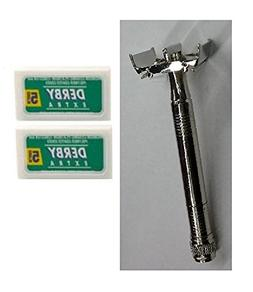 Double Edge Safety Razor + Derby Extra Double Edge Blades, 5
