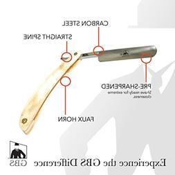 GBS Premium Carbon Steel Cut Throat Straight Edge Blade Horn