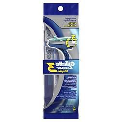 Gillette Sensor3 Simple Men's Disposable Razors, 4 Count , M