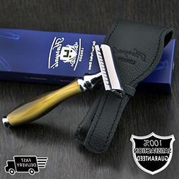 Men's Classic DE Safety Shaving Razor with Horn Replica Hand