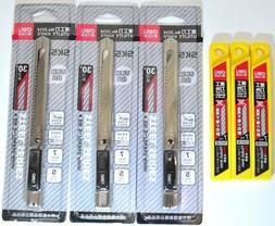 QUALITY 3 Knife Handles 30 Refills Snap Off Razor Blades Uti