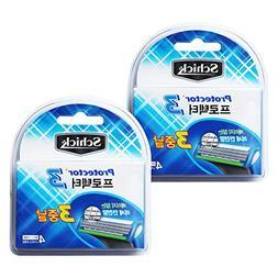 Schick Protector3 razor blade 2Pack = 8 pcs Razor refill bla