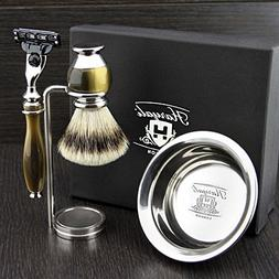 Simulated Horn and Nickel 4 Pieces Men's Shaving Set With Gi