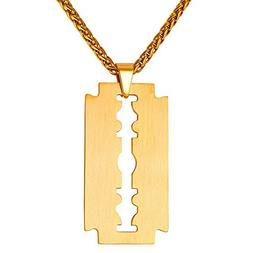 U7 Men Cool Necklace Stainless 18K Gold Plated Razor Blade P