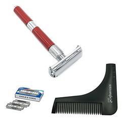 Zeva Beard Shaping Tool Bundle with Long-Handled Traditional