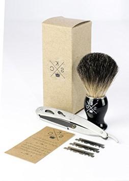 100% Badger Shave Brush, Stainless Steel Straight Razor Shav