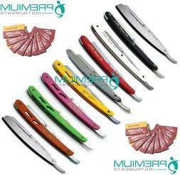 Barber Razors Straight Edge Folding Handle Colors 10 Pcs W/
