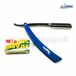 Blue Straight Barber Edge Steel Razor Folding Shaving Knife