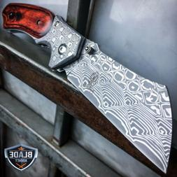 DAMASCUS Etch TACTICAL Spring Open Assisted Pocket Knife CLE