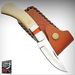 DH-8001 White Smooth Bone Handle Folding Limited Elite Knife