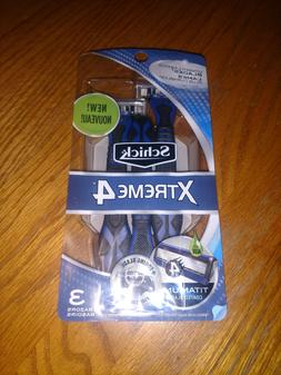 Schick Extreme 4 3 Pack Disposable Blue Razors Titanium Blad
