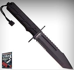"FIXED-BLADE SURVIVAL Elite Knife 12"" Black Serrated Tanto Ta"