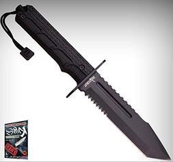 "FIXED-BLADE SURVIVAL Elite Knife 12"" Black Serrated Tanto Ta"