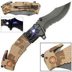 LED Flashlight Tactical Rescue Pocket Knife US Marines