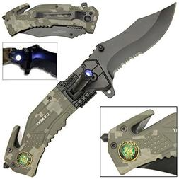 LED Flashlight Tactical Rescue Pocket Knife US Army Camo