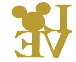 Gold I Love Disney Sticker