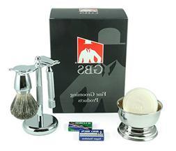 GBS Men's premium Wet Grooming Shaving Set - Gift Boxed - He