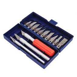 16pc Hobby Razor Knife Set W/blades W/case  Stencil