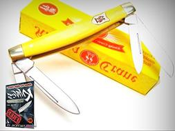 KISSING CRANE Yellow CONGRESS 4 Blade STAINLESS Folding Pock